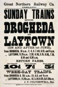 Drogheda & Laytown Irish Railway Train Timetable Poster Ireland.  By Great Northern Railway